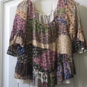 🌻Florent Anthropologie Patchwork BOHO Peasant Top